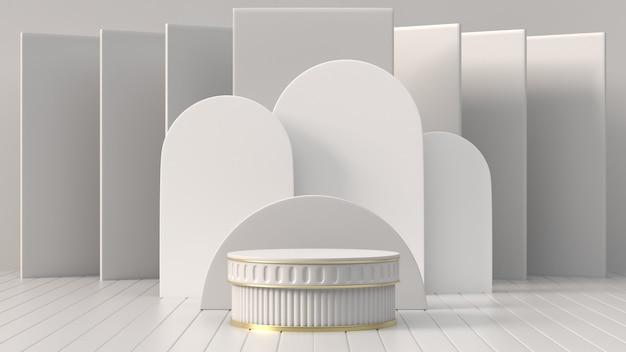 3d renderowanie obrazów abstrakcyjne geometryczne, cylindryczne podium, minimalistyczne prymitywne kształty, nowoczesna makieta, pusty szablon, siatka, pusta prezentacja, wystawa sklepowa