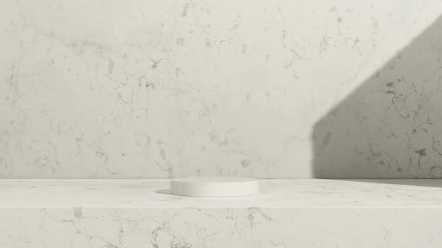 3d renderowanie obrazu białe podium z białym marmurowym tłem reklama wyświetlania produktu
