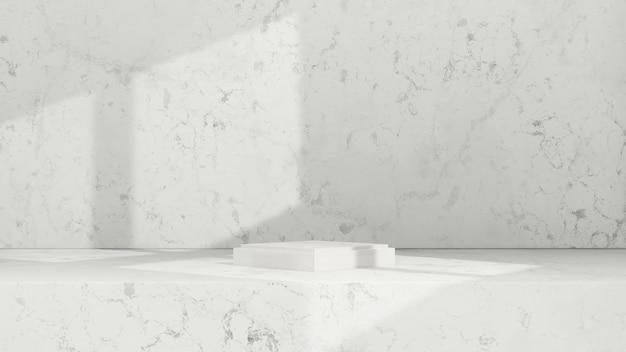 3d renderowanie obrazu białe podium z oświetleniem okna i białym marmurowym wyświetlaczem produktu w tle