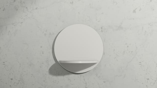 3d renderowanie obrazu białe wiszące podium z białym marmurowym tłem reklama wyświetlania produktu