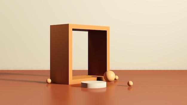 3d renderowanie obrazu brązowe podium z brązową paletą kolorów w tle reklama wyświetlania produktu