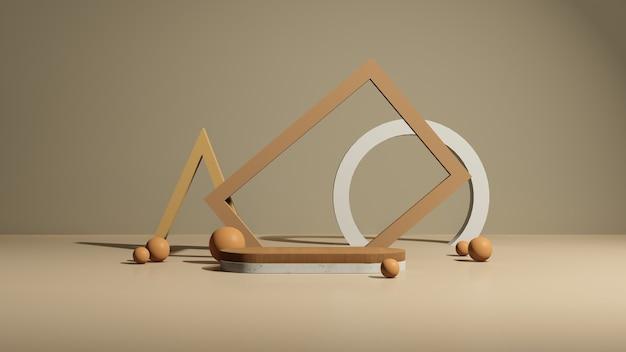 3d renderowanie obrazu drewnianego podium z różnymi abstrakcyjnymi kształtami i brązowym wyświetlaczem produktu w tle
