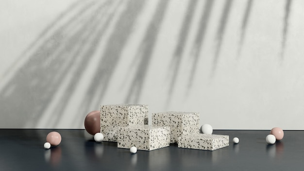 3d renderowanie obrazu podium lastryko z różową białą kulką i białym tłem wyświetlacza produktu