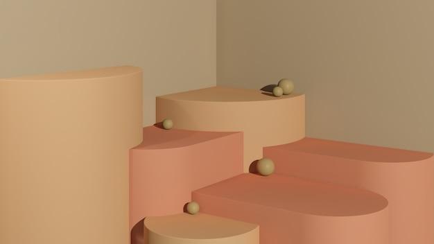 3d renderowanie obrazu pomarańczowe i różowe podium z reklamą wyświetlania produktu w brązowym tle
