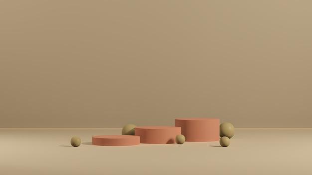 3d renderowanie obrazu różowe podium z reklamą wyświetlania produktu w brązowym tle