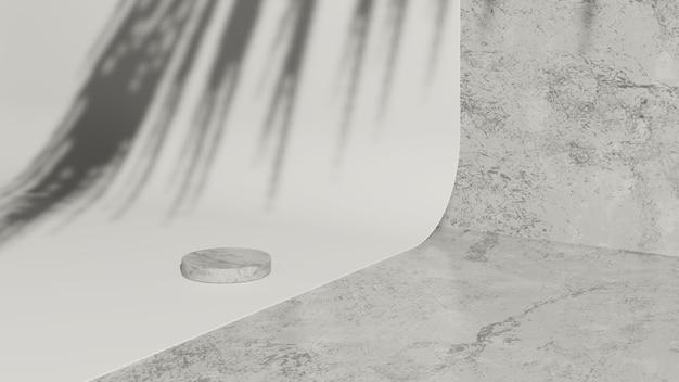 3d renderowanie obrazu szarego marmuru podium na białym papierze z szarym marmurowym tłem wyświetlacza produktu