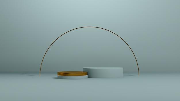 3d renderowanie obrazu złote i niebieskie podium z reklamą wyświetlania produktu na niebieskim tle