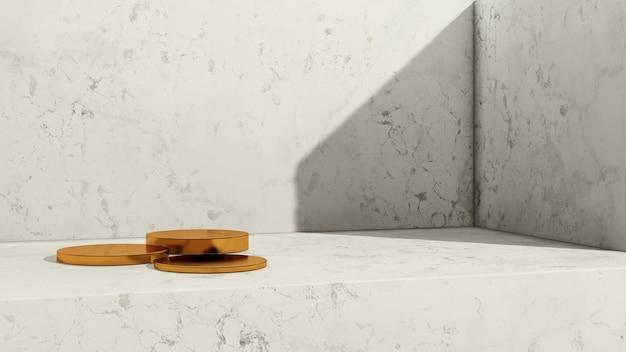 3d renderowanie obrazu złote podium z białym marmurowym tłem reklama wyświetlania produktu