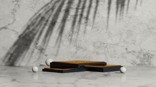 3d renderowanie obrazu złote podium z cieniem dłoni i szarym marmurowym tłem wyświetlacza produktu