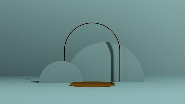 3d renderowanie obrazu złote podium z niebieskim tłem abstrakcyjne kształty reklama wyświetlania produktu