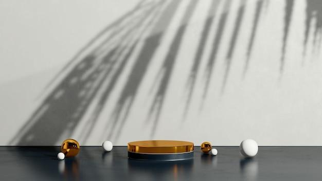 3d renderowanie obrazu złote podium ze złotą i białą kulką białe tło reklama wyświetlania produktu