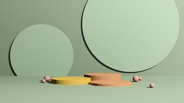 3d renderowanie obrazu żółte i różowe podium z reklamą wyświetlania produktu w tle na zielonym tle