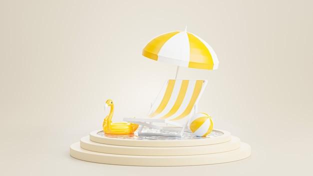 3d renderowanie podium z latem, plażą z krzesłami, plażą parasolową, nadmuchiwanym niebieskim flamingiem, koncepcją basenu do wyświetlania produktu