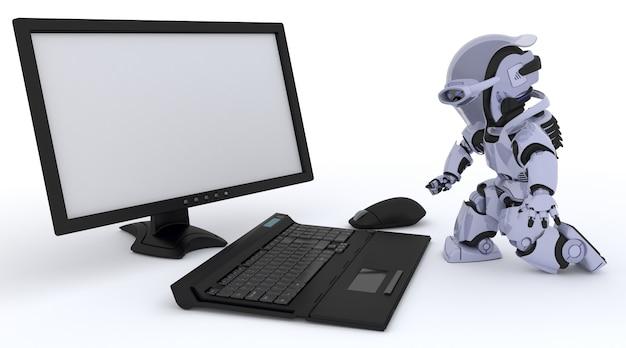 3d renderowanie robota z komputerem