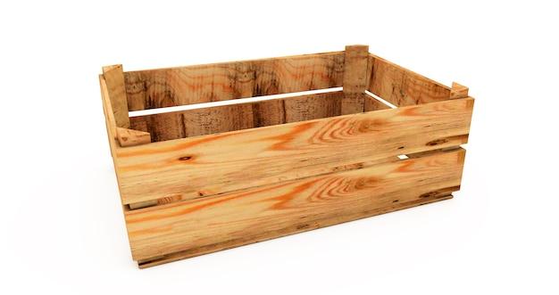 3d renderowanie stosu drewniane skrzynie na białym tle. puste drewniane skrzynie