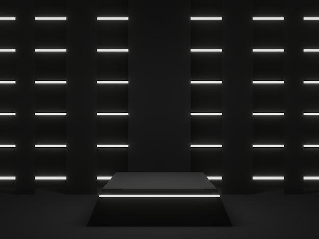 3d renderowany czarny geometryczny stojak z białymi neonami