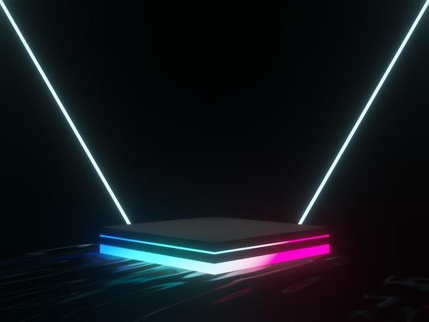 3d renderowany stojak na produkty w kolorze czarnym z gradientowymi światłami.