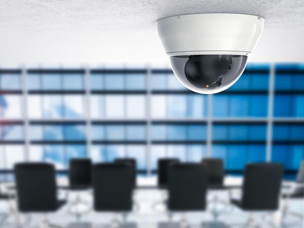 3d renderująca kamera bezpieczeństwa lub kamera cctv z tłem biurowym