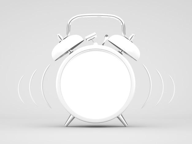 3d renderujący biały budzik na białym tle