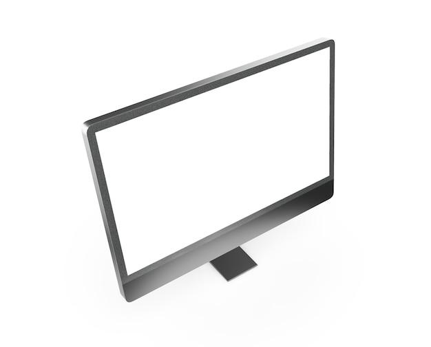 3d renderujący czarny monitor na białym tle
