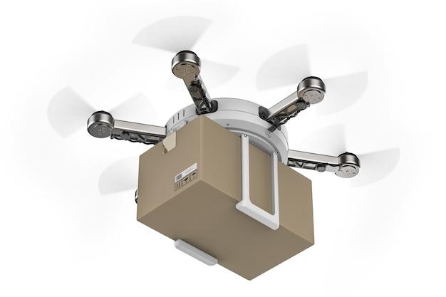 3d renderujący dron dostawczy latający z kartonowym pudełkiem
