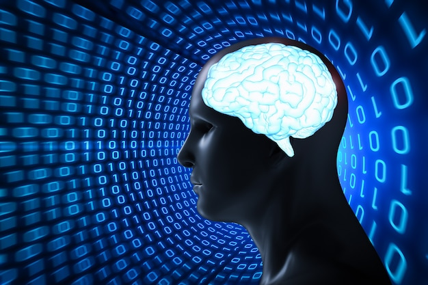 3d renderujący ludzki model z niebieskim błyszczącym mózgiem