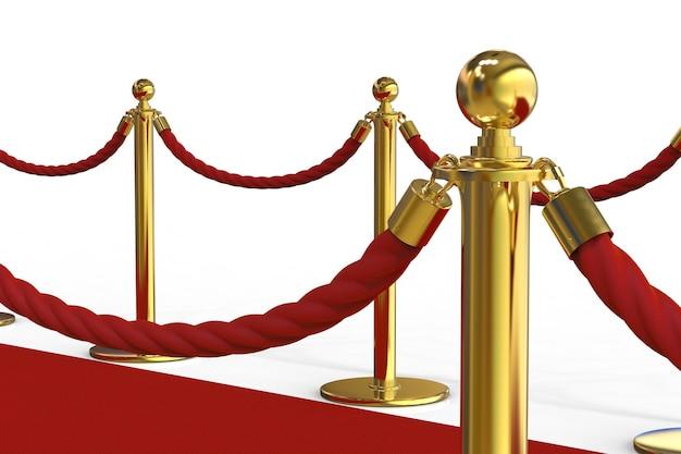 3d renderujący złoty filar z barierą linową na czerwonym dywanie