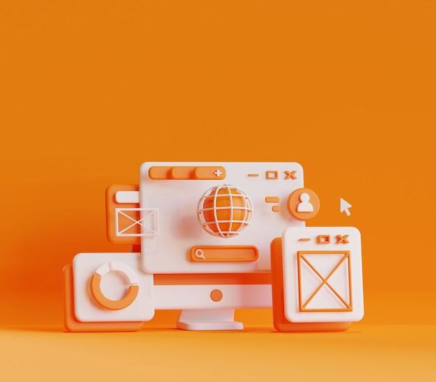 3d renderuje ilustrację aktywności online w przeglądarce na komputerze stacjonarnym w sieci wyszukiwania i danych wynikowych