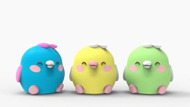 3d rillustration kawaii kurczak małe ptaki ładny postać z kreskówki