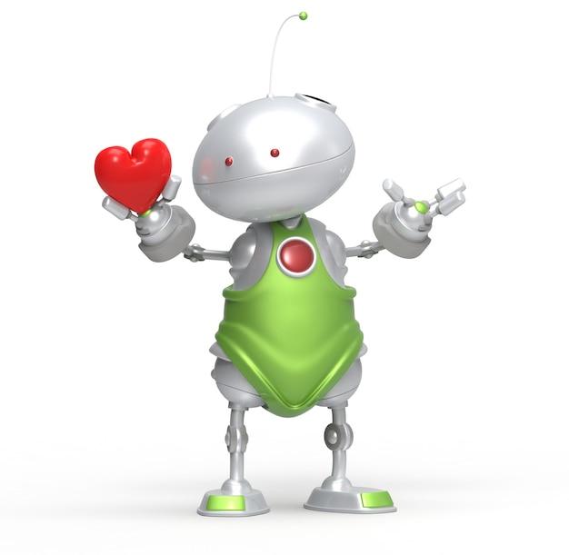 3d robot z sercem w ręku. na białym tle