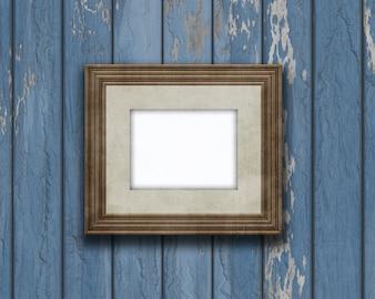 3D rocznika pustego miejsca obrazka rama na starej drewnianej ścianie