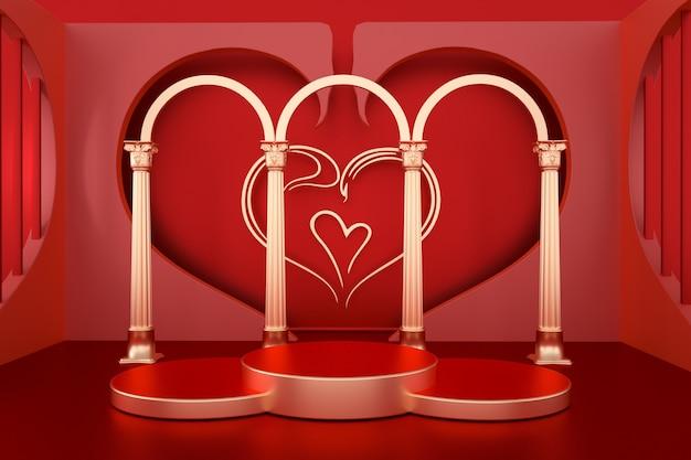 3d romantyczne czerwone renderingi z podium w kształcie koła do wyświetlania makiety