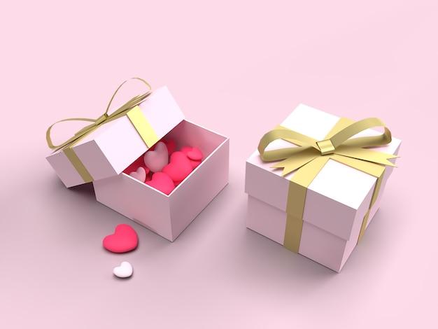 3d różowe pudełko ze złotą wstążką z sercami, prezent na walentynki