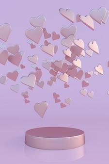 3d różowe serca podium dla kobiet matki walentynki urodziny pastelowy wzór pionowy