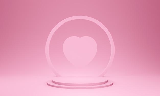 3d różowy etap valentine