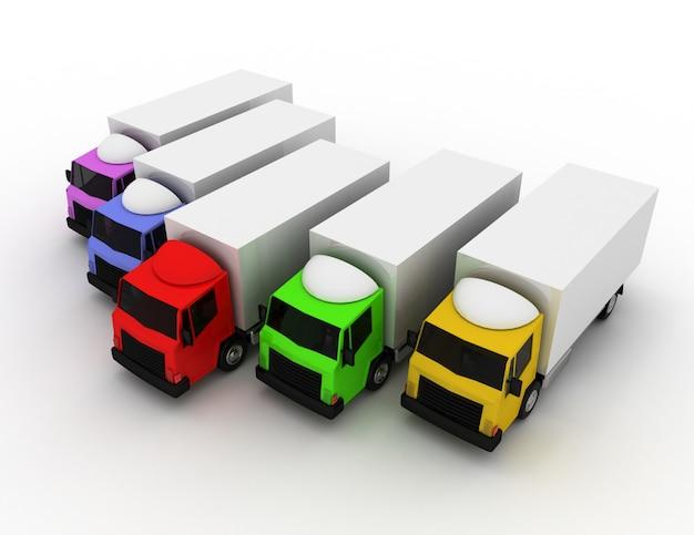 3d Samochód Ciężarowy Lider Koncepcji Dostawy. 3d Renderowana Ilustracja Premium Zdjęcia