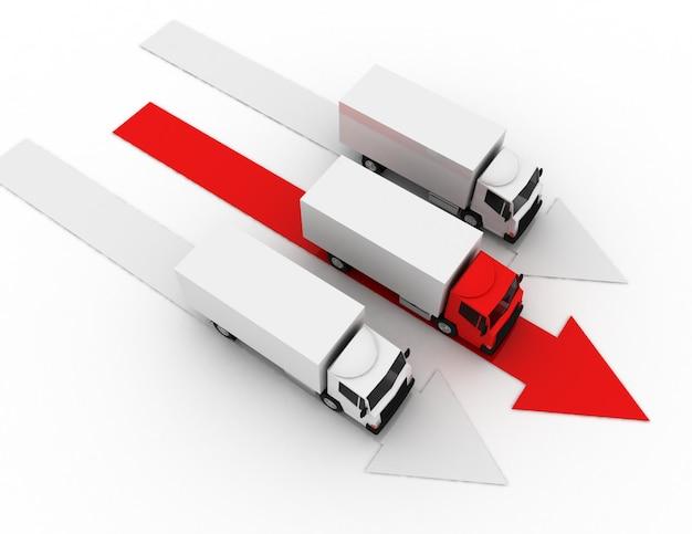 3d samochód ciężarowy lider koncepcji dostawy. 3d renderowana ilustracja