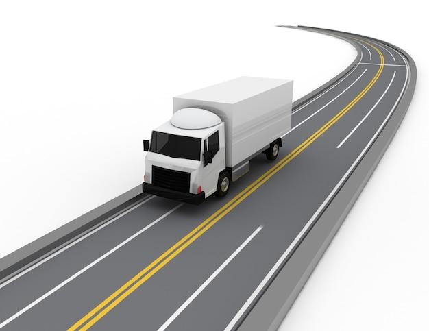 3d samochód ciężarowy na drodze. 3d renderowana ilustracja
