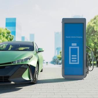 3d samochód elektryczny i stacja ładująca