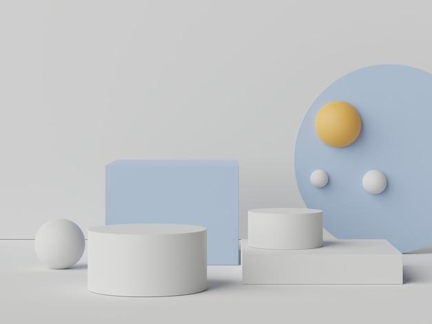 3d scena przedstawiająca podium do prezentacji makiet i produktów z minimalnym tłem tonu ziemi.