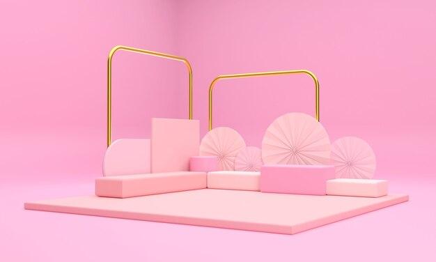 3d scena, różowe podium i złote filary wyglądają znakomicie i luksusowo