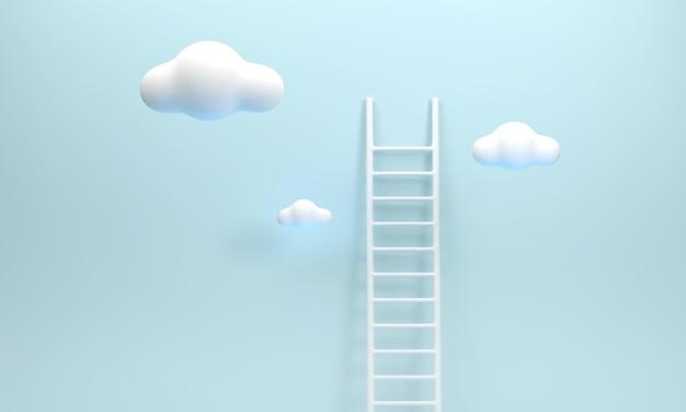 3d. schody i chmury reprezentują wysiłek. sukces w pracy