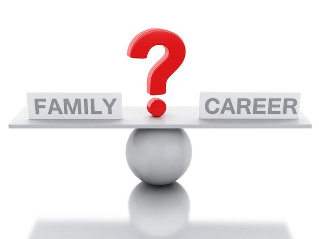 3d seesaw równowagi między rodziną i karierą