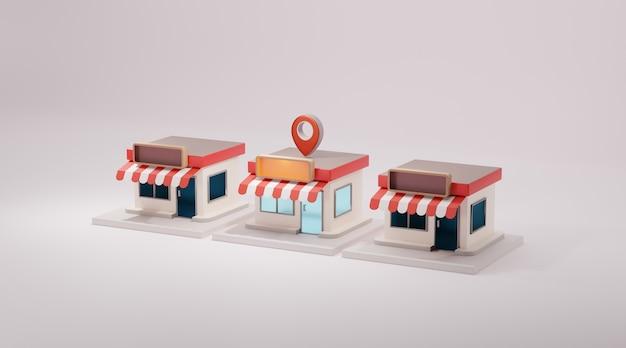 3d sklep z przodu sklepu