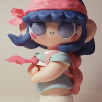 3d śliczne kolorowe kawaii postać z kreskówki