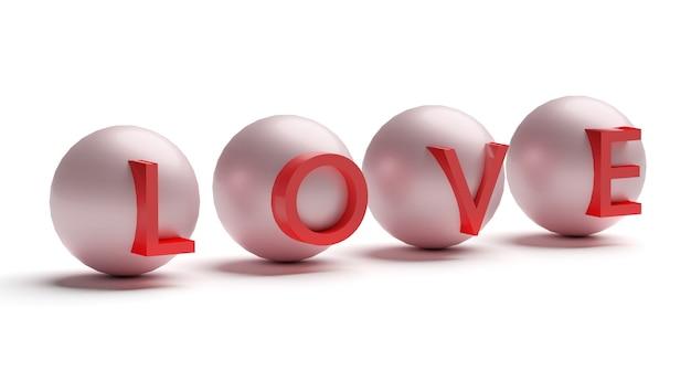 3d słowo miłość na kulkach na białym tle