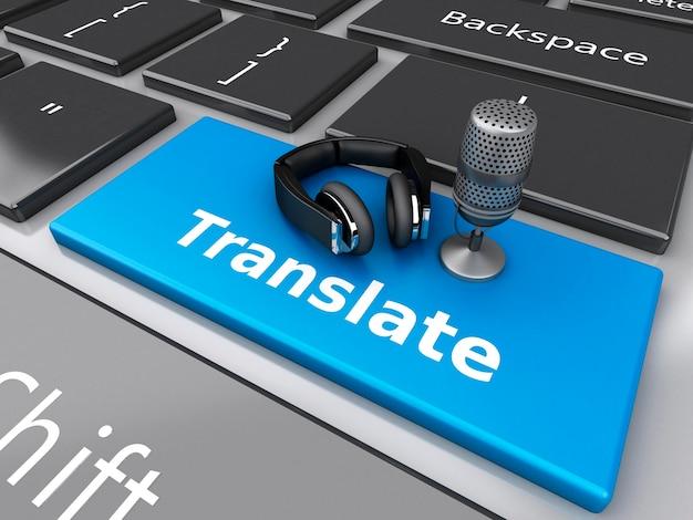 3d słowo tłumaczyć z mikrofonem i hełmofonami na komputerowej klawiaturze.