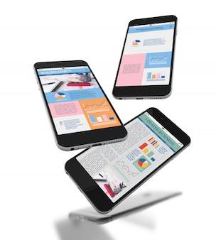 3d smartfony z różnym projektem aplikacji mobilnej na ekranie