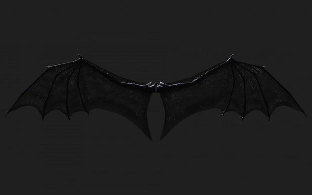 3d smoka skrzydło, diabelskie skrzydła, upierzenie skrzydła demona na czarnym tle ze ścieżką przycinającą.