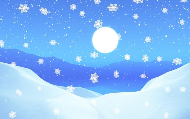 3d śnieżny krajobraz księżyca